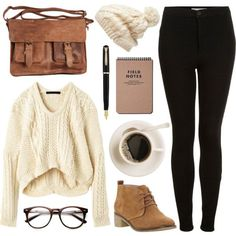 Cream knits by hanaglatison on Polyvore