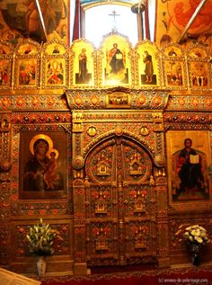 A Golden iconostasis in St. Basil's Cathedral in Moscow, Russia