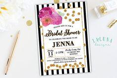 bridal shower invite gold confetti bridal shower kate spade inspired