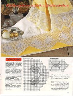 filet crochet edging or valance - stylized tulips