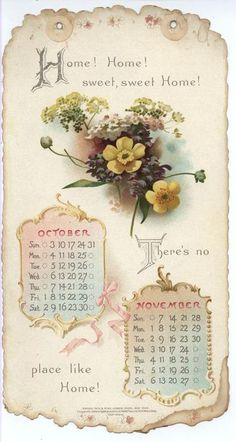 HOME SWEET HOME CALENDAR FOR 1897. ..♥..Nims..♥