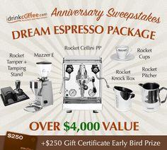 Dream Espresso Package, incl Rocket Cellini Premium Plus V3, Mazzer for Rocket Mini Electronic Type A Grinder, Rocket Frothing Pitcher, Rocket Tamping Stand, Rocket Espresso Cups, Rocket Cappuccino Cups, and Rocket Knock Box. Value $4,000+ #sweepstakes