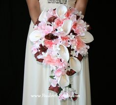 Calla Lily Cascading Bridal Bouquet in Pink and Brown [everything from this shop is color customizable]