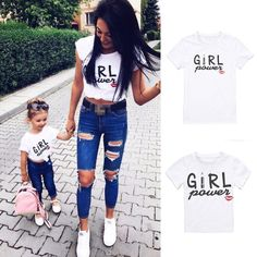 New Mom Baby Girl Power Matching Shirt T-Shirt Blouse Tee Tops Family Outfit Clothes Short Sleeve Casual Lips T Shirt Mommy And Me Outfits, Toddler Boy Outfits, Toddler Girl, Matching Family Outfits, Matching Shirts, Baby Size Chart, Mom And Baby, Baby Baby, Baby Girls