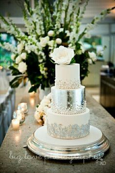 love the use of metallics and jewels/pearls for a wedding design, and using both on cakes always blows me away! This silver and pearl cake is GORGEOUS!