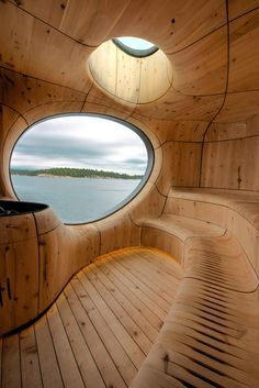 Behind the burnt-timber exterior of this sauna by Canadian studio Partisans is a cavernous cedar interior that emulates the form of a seaside grotto.