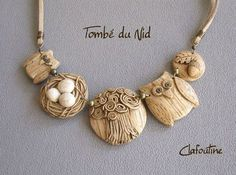 Cute polymer clay owl and nature necklace by Parole de Pate.