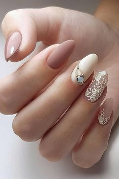 wedding nails 2019 nude with lace matte and rhinestones evgeniya__nails Wedding Day Nails, Wedding Nails Design, Weding Nails, Lace Nail Design, Gorgeous Nails, Pretty Nails, Ongles Beiges, Bridal Nail Art, Lace Nails