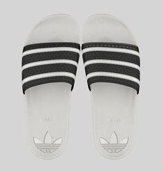 Adidas Adilette Athletic white and black striped custom slides
