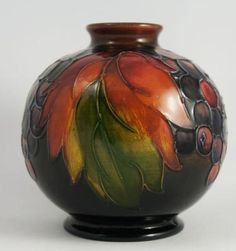 MAYBE, JUST MAYBE, YOU'LL BE A FAMOUS POTTERY MAKER AND SCULPTOR of beautiful ornaments !! .....?? Flambe Leaf & Berry 1950's Vase-Moorecroft