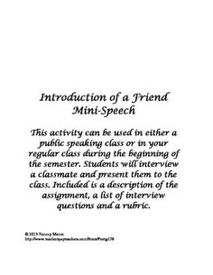 Introduction of a Friend Mini-Speech: This is a great classwork activity (with rubric) to use on the first day of any public speaking class! Public Speaking Activities, Public Speaking Tips, Speech Activities, Class Activities, List Of Interview Questions, Welcome To Class, Speech And Debate, Good Presentation, Good Communication