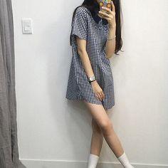 black hair, bracelets, cute, flower case, girl, goals, gorgeous, grunge, k-fashion, korean, legs, pretty, ring, watch, white socks, tile dress