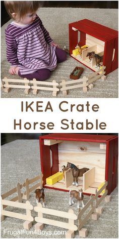 IKEA Hack:  Turn a Knagglig Wooden Crate into a Horse Stable for Toy Horses!  This would make a fun gift.