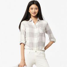 WOMEN Flannel Check Long Sleeve Shirt