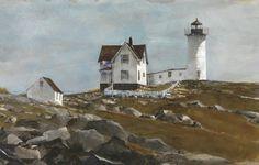 Stephen Scott Young (b. 1957, USA) Dawn's Light, Coast of New England. 2008 watercolor on twinrocker handmade paper. 34.3 × 53.3 cm.