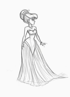 Ariel Fashion Dress sketch by VPdessin on DeviantArt Disney Princess Fashion, Disney Princess Drawings, Disney Princess Art, Princess Style, Disney Drawings, Disney Art, Drawing Disney, Dress Drawing, Drawing Clothes