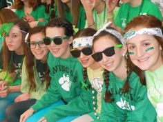Eighth Graders show their spirit during the student/faculty volleyball game.
