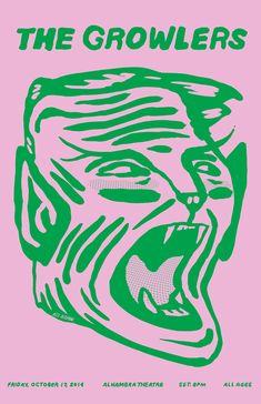Das Growlers Show Poster von Alex DeSpain - Graphic Design - Desing Graphic Design Posters, Graphic Design Illustration, Graphic Design Inspiration, Typography Design, Illustration Art, Band Posters, Cool Posters, Arte Punk, Plakat Design