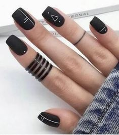 Have you heard of the idea of minimalist nail art designs? These nail designs are simple and beautiful. You need to make an art on your finger, whether it& simple or fancy nail art, it looks good. Of course, you may have seen many simple and beaut Edgy Nails, Fancy Nails, Stylish Nails, Matte Nails, Pretty Nails, Gel Nails, Manicure, Coffin Nails, Glitter Nails