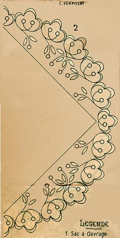 Embroidery pattern for an edge of a collar, purse or bag.