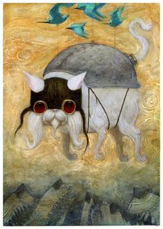 """Made by: Bill Carman , """"Joy""""  - (Birds tied with strings to a dog)"""