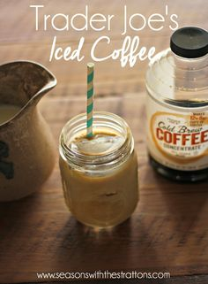 Iced Coffee with Trader Joe's Cold Brew Coffee Concentrate // www.seasonswiththestrattons.com