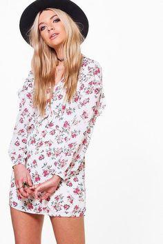 b8a2ac6ab883 Boohoo Rita Floral Printed Tea Dress Ivory Size UK 14 rrp 18 DH088 CC 14 #