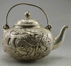 Collectible Decorated OLD Handwork Tibet Silver Carved Dragon Phoenix TEA POT   eBay