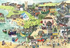 'Newquay Harbour' - a print by Serena of a well known Cornish tourist destination. Prints available from Cornwall Art Galleries for (plus P&P) Seaside Art, Beach Art, Newquay, Royal College Of Art, Naive Art, Artist Painting, Art World, Art Pictures, Art Gallery