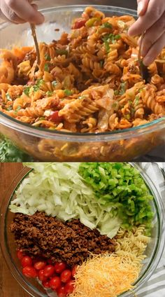This Taco Pasta Salad is a family favorite! This pasta salad recipe is perfect for BBQs, potlucks and big family gatherings! It has a secret ingredient that stops everyone in their tracks! # Food and Drink meals families Taco Pasta Salad Best Salad Recipes, Pasta Recipes, Beef Recipes, Dinner Recipes, Cooking Recipes, Healthy Recipes, Recipe Pasta, Potluck Recipes, Potluck Appetizers