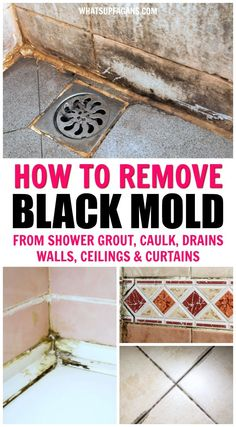SO HELPFUL! Great information on all things black mold in showers including black mold health risks how to remove black mold from shower caulk behind shower walls off shower ceilings shower curtains and shower drains! Deep Cleaning Tips, House Cleaning Tips, Diy Cleaning Products, Spring Cleaning, Natural Cleaning Solutions, Cleaning Supplies, Remove Black Mold, How To Remove Mold, Remove Mold From Shower