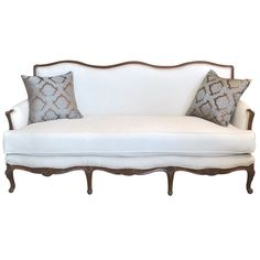 Vintage French Walnut Sofa with White Upholstery Pat Monroe Texas 1930s Furniture, Rococo Furniture, Art Deco Furniture, Find Furniture, Upholstered Furniture, Home Suites, Office Sofa, White Couches, Vintage Sofa