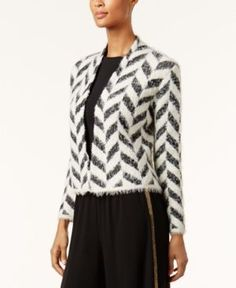 August Silk Printed Open-Front Cardigan - Black/White Chevron XL
