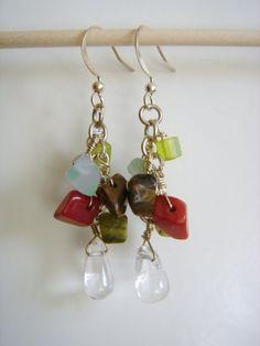 Earrings I made. Quartz and semi-precious chip stones.
