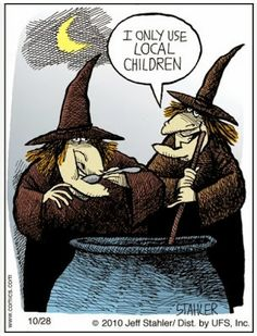 Funny witches brew local children cartoon joke image