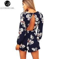 Lily Rosie Girl Sexy Backless Boho Print Long Sleeve Women Playsuits F – cigauy College Outfits, Outfits For Teens, Summer Outfits, Playsuits, Jumpsuits, Cute Rompers, Floral Jumpsuit, Boho, Ideias Fashion