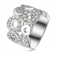 Platinum Plated Small Circles Pattern Ring With Austrian Crystals * 100% of buyers would buy this product again