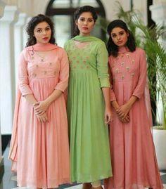 Beautiful kurtis Churidar Designs, Kurta Designs Women, Kurti Neck Designs, Dress Neck Designs, Kurti Designs Party Wear, Blouse Designs, Party Wear Indian Dresses, Indian Gowns Dresses, New Designer Dresses