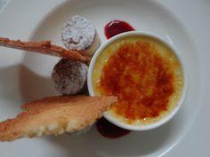 Crème brulee  raspberry blondies, coconut tuille