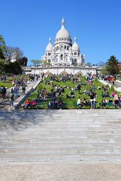 Montmartre, Paris, France.- To the Sacre Coeur Basilica, which sits on the crest of the hill.