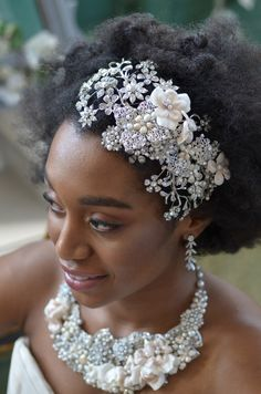 Extraordinary Flower and Pearl Bridal Hairwrap with Matching Jewelry -- Affordable Elegance Bridal -
