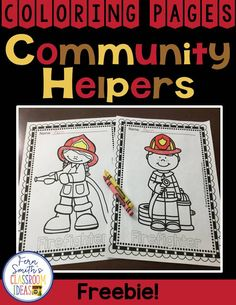 Community Helpers: Two FREE Community Helpers Color For Fun coloring pages, a male firefighter and a female firefighter for your classroom FUN! From Fern Smith's Classroom Ideas at Classroom Freebies.