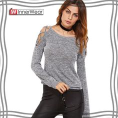 Clothes Autumn Grey - Womens Long Sleeve Tops Womens Clothing Autumn Casual Tee Shirt Grey Marled Crisscross Hollow Out Open Shoulder Tshirt Casual Sweaters, Casual Tops, Criss Cross, Womens Clothing Stores, Clothes For Women, Fashion Hashtags, Cross Shirts, Women Sleeve, Casual Fall