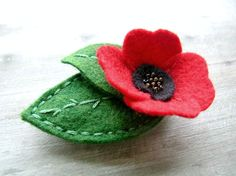 Felt Poppy Flower //  Ruby Red // Womens Felt and Seed Bead Hair Accessory by OrdinaryMommy on Etsy. $18.00, via Etsy.