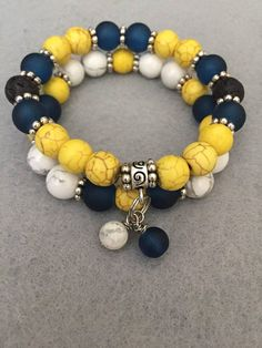 Yellow & Navy Blue Diffuser Double Stack Bracelet Set.