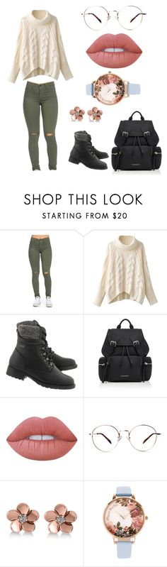 """""""Gank top:p"""" by nereavillamide ❤ liked on Polyvore featuring Burberry, Lime Crime, Allurez and Olivia Burton"""