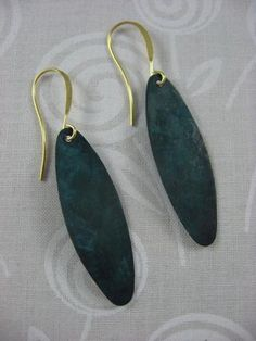 Forest Green Brass Patina Earrings by ByMiMi for $2.80