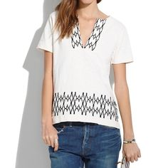 Madewell   Black & White Boxstitch Top   XS Great condition   true to size   very comfortable   no wear or damage Madewell Tops Blouses