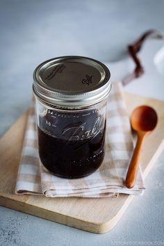 Teriyaki Sauce in a mason jar.