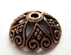 20 large bead caps antique copper jewelry by GatheringSplendor, $3.45